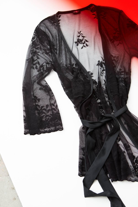 black lace, cosabella, italian, lingerie, seymore lace robe