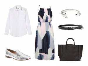 dress, fit-and-flare, work, office, layering, metallic, boardroom, professional wardrobe, banana republic, how to wear