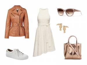 dress, fit-and-flare, leather, banana republic, metallic, sneakers, casual, how to wear, dress obsessed, spring, style
