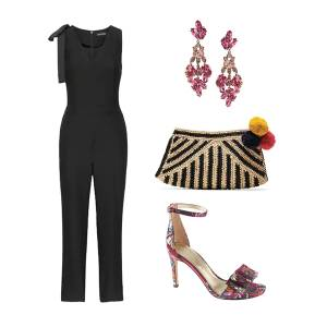 mar y sol, black jumpsuit, banana republic, wedding guest, dress code, bohemian, black tie, raffia, brocade, pink earrings, joie