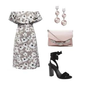 garden party, floral, off-the-shoulder, wedding guest, what to wear to wedding, grey, neutral floral, wrap heel, pink, wedding style